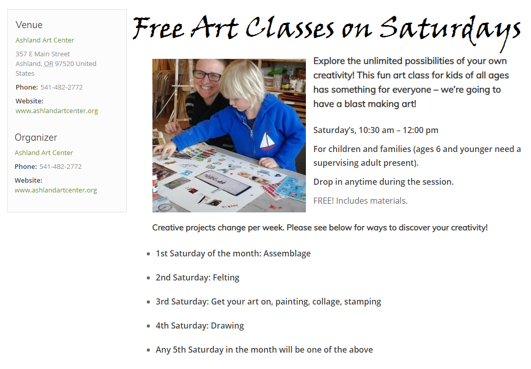 Free Family Art Classes Ashland The Family Connection